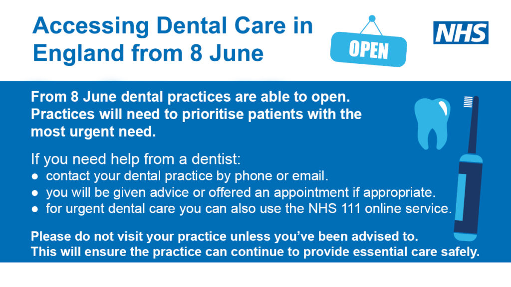 Accessing Dental Care in England from 8 June